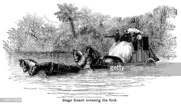 Stage coach crossing a deep ford