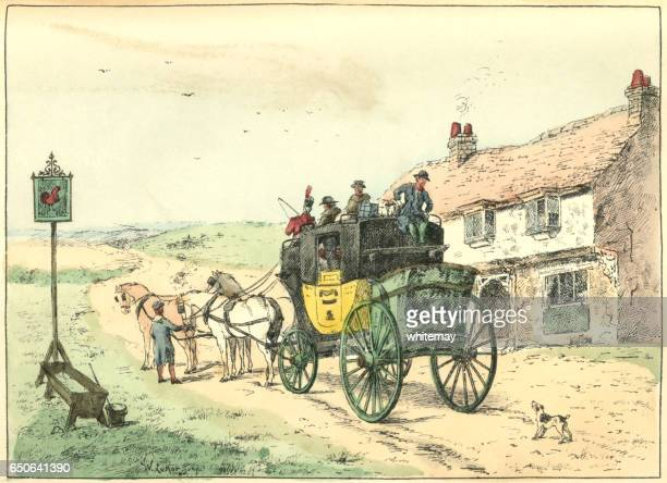 stage coach stopped at a roadside inn - inn stock illustrations