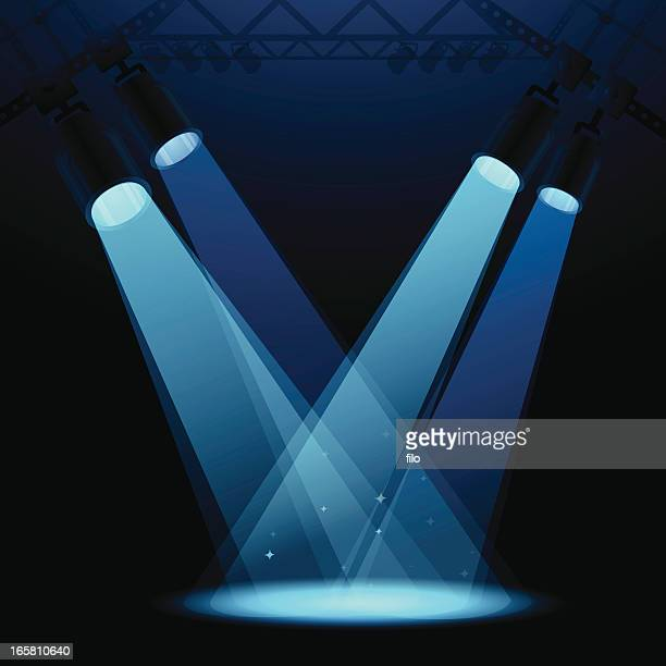 stage spotlights - lighting equipment stock illustrations, clip art, cartoons, & icons