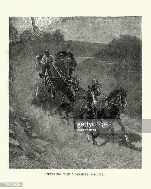 stagecoach driving through yosemite valley, 19th century - graphic print stock illustrations