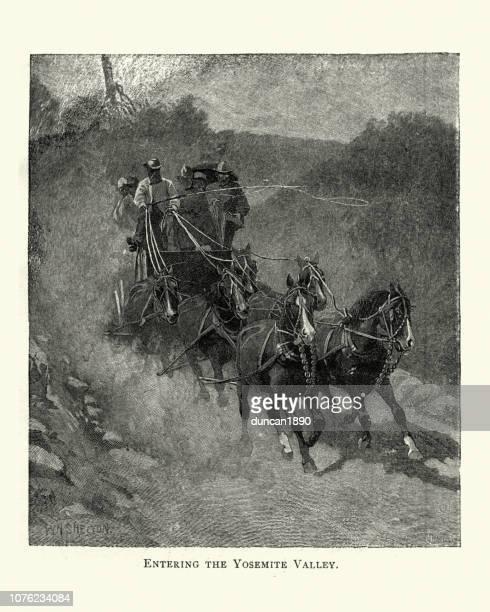 Stagecoach driving through Yosemite Valley, 19th Century