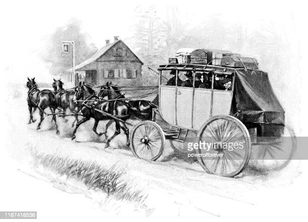 stagecoach in philadelphia, pennsylvania, united states - 18th century - 18th century stock illustrations