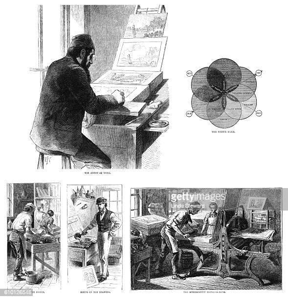 ilustrações, clipart, desenhos animados e ícones de stages in the chromolithographic printing process - impressão ilustração