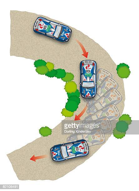 stages of racing car going around curve - コーナリング点のイラスト素材/クリップアート素材/マンガ素材/アイコン素材
