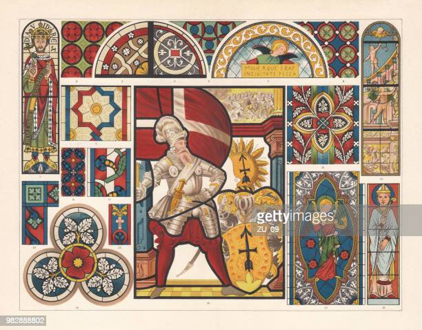 stained glass, lithograph, published in 1897 - circa 14th century stock illustrations, clip art, cartoons, & icons