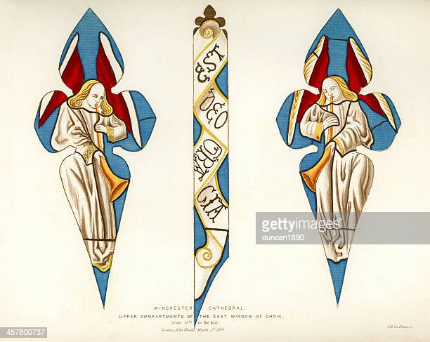 stained glass window - winchester cathedral - 1840 1849 stock illustrations