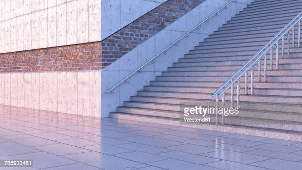 Staircase at twilight, 3D Rendering