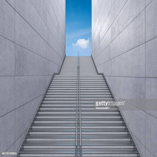 staircase in a building leading to the sky, 3d rendering - concrete wall stock illustrations, clip art, cartoons, & icons