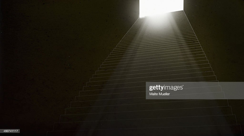Stairs leading up to a brightly illuminated doorway : Stock Illustration