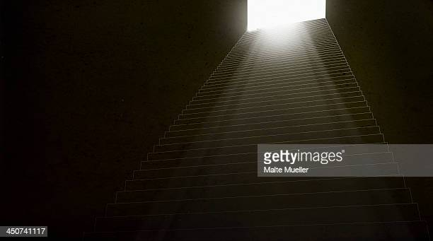 stairs leading up to a brightly illuminated doorway - door frame stock illustrations, clip art, cartoons, & icons