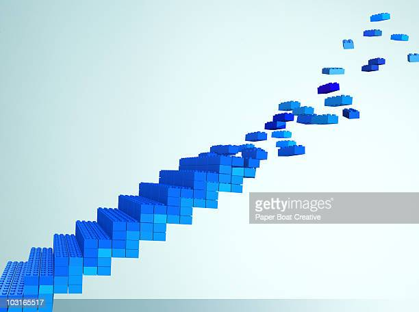3d stairs made of toy blocks - bloco stock illustrations
