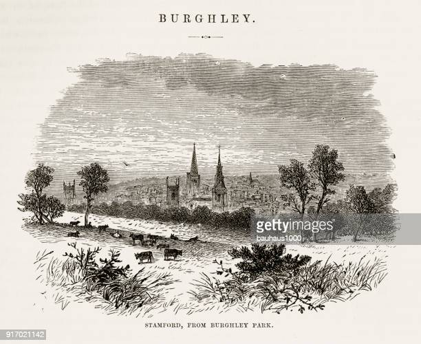 stamford, from burghley park, england victorian engraving, circa 1840 - spire stock illustrations, clip art, cartoons, & icons