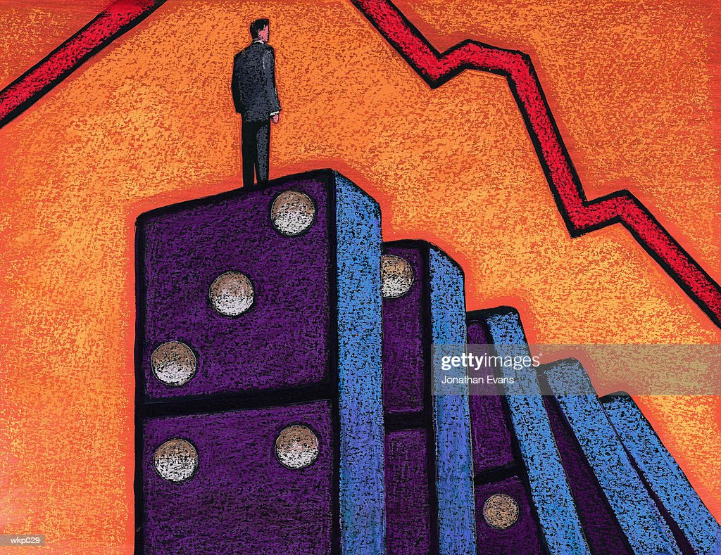 Standing on Domino : Stock Illustration