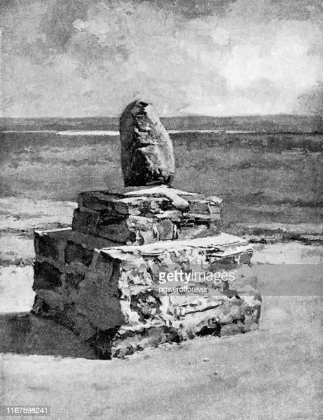 ilustraciones, imágenes clip art, dibujos animados e iconos de stock de monumento a sioux first nations en fort yates, dakota del norte, estados unidos - siglo xix - indios americanos sioux