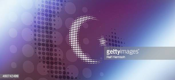 star and crescent symbol of islam reflected against abstract surface - colour gradient stock illustrations