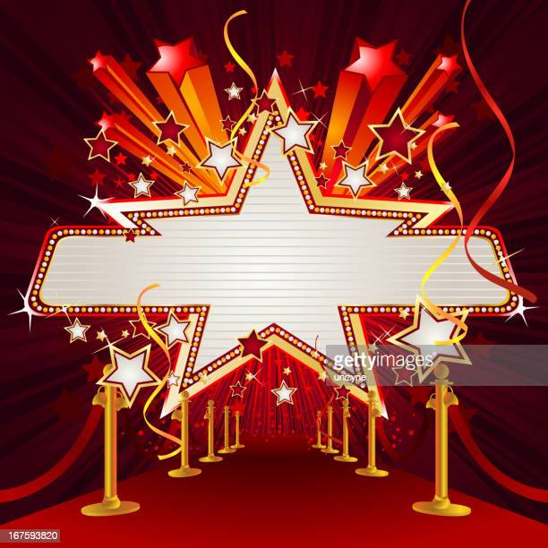 Star and Panel Marquee Display with Red Carpet
