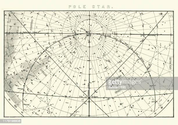 star chart for the polestar (polaris), 19th century - north star stock illustrations