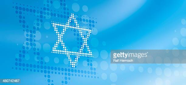 star of david made from dots, reflected against abstract background - colour gradient stock illustrations