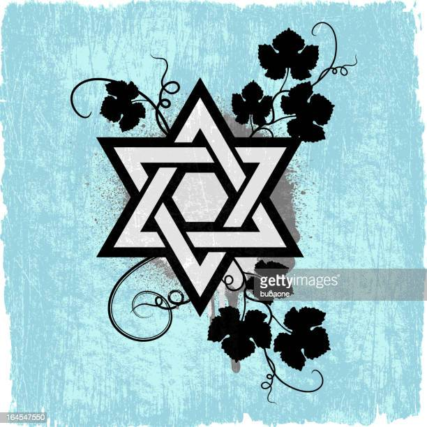 Star of David on Blue royalty free vector Background