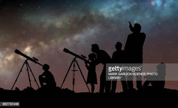 star party, illustration - astronomy stock illustrations
