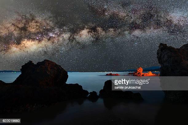 starry night over sea .