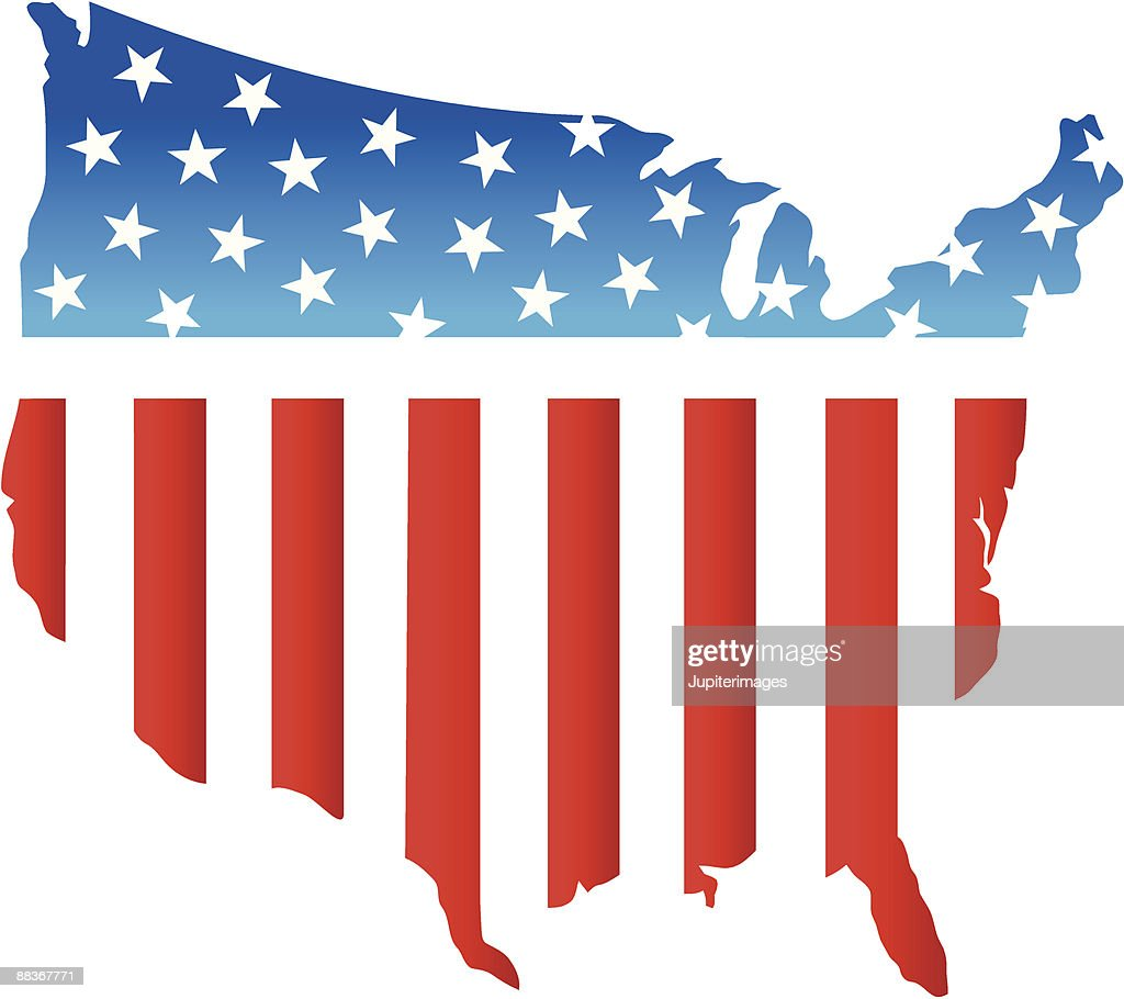 Stars and stripes outline of the USA : stock illustration