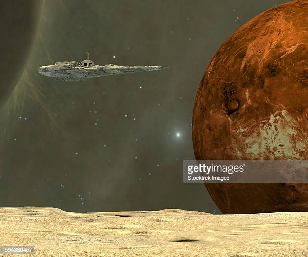 A starship visits an asteroid near the planet Mercury during a investigative voyage to the inner solar system.