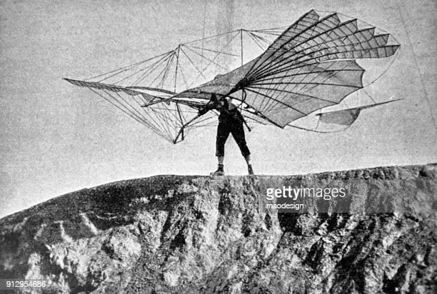 ilustraciones, imágenes clip art, dibujos animados e iconos de stock de empezar a volar con el planeador - 1896 - libros volando