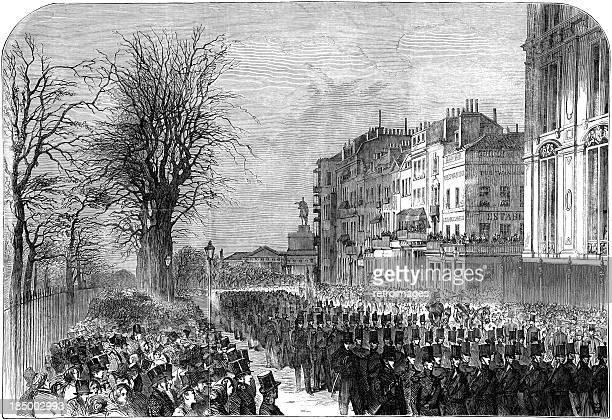 stockillustraties, clipart, cartoons en iconen met state funeral: the duke of wellington, london 1852 (engraved illustration) - duke