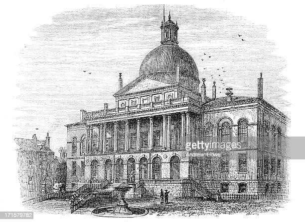 state house boston engraving - boston massachusetts stock illustrations