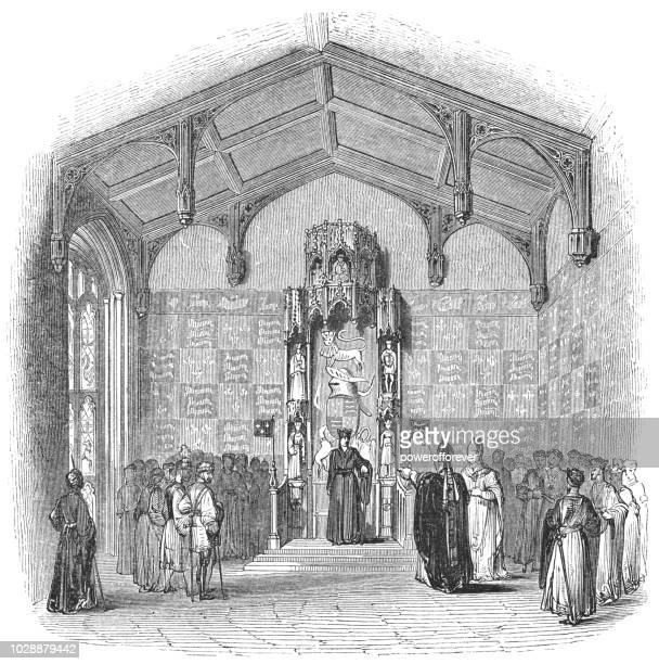 state room at the tower of london - works of william shakespeare - henry v of england stock illustrations, clip art, cartoons, & icons