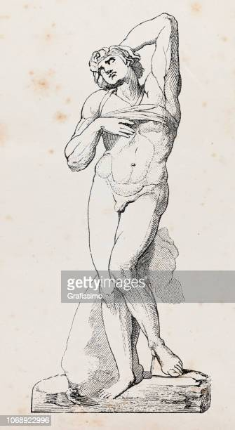 statue from michelangelo called fettered slave - greek gods stock illustrations, clip art, cartoons, & icons