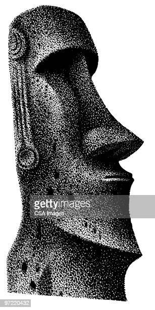 statue - easter island stock illustrations, clip art, cartoons, & icons