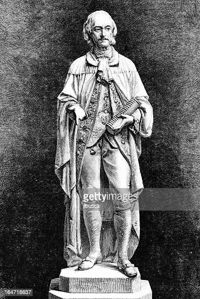 statue of alessandro volta - valle d'aosta stock illustrations, clip art, cartoons, & icons