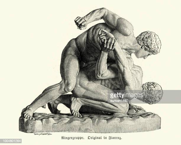 statue of ancient wrestlers - ancient stock illustrations