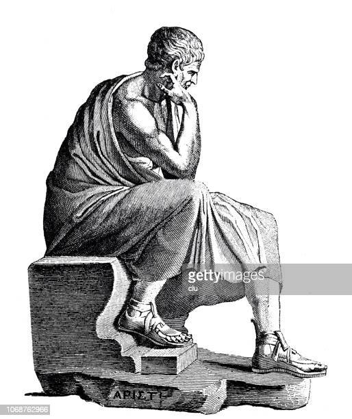 statue of aristoteles, greek philosopher - archaeology stock illustrations