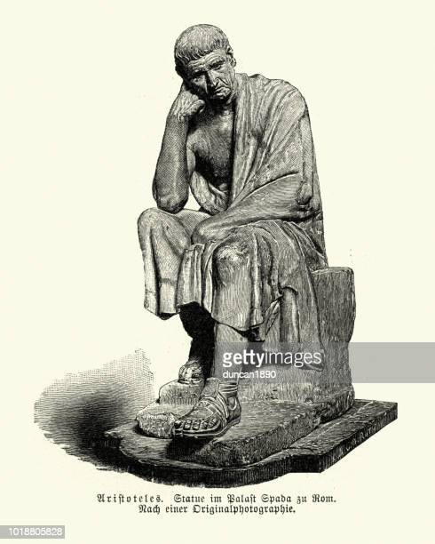 ilustrações, clipart, desenhos animados e ícones de estátua de aristóteles - filósofo