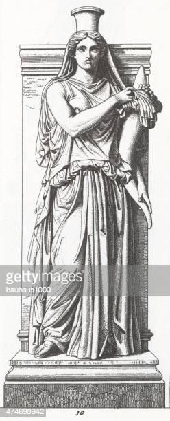 illustrazioni stock, clip art, cartoni animati e icone di tendenza di statua di felicitas publica da pigalle incisione - mitologia greca