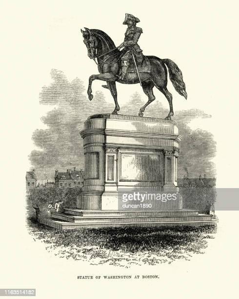 statue of george washington at boston - boston massachusetts stock illustrations