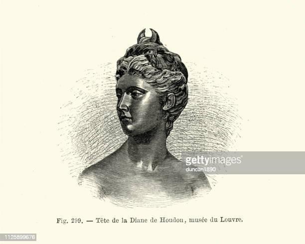statue of goddess diana by jean-antoine houdon - roman goddess stock illustrations