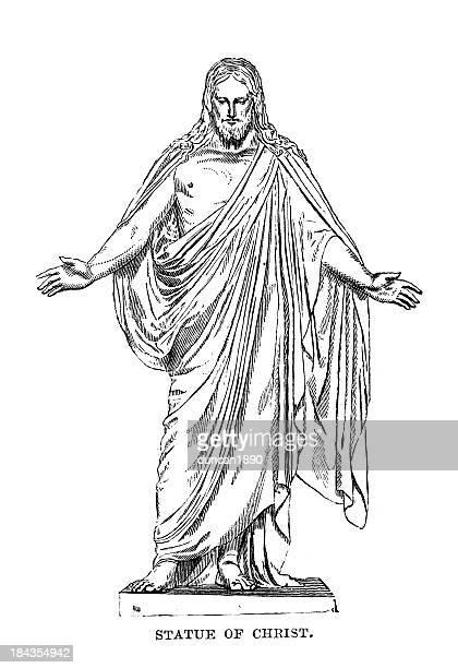 statue of jesus christ - biblical event stock illustrations