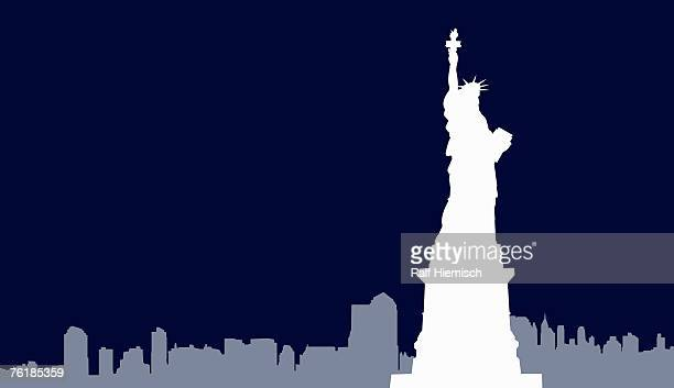 statue of liberty and new york city skyline, - horizontal stock illustrations