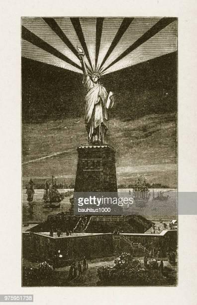statue of liberty at night victorian engraving, 1878 - ellis island stock illustrations, clip art, cartoons, & icons