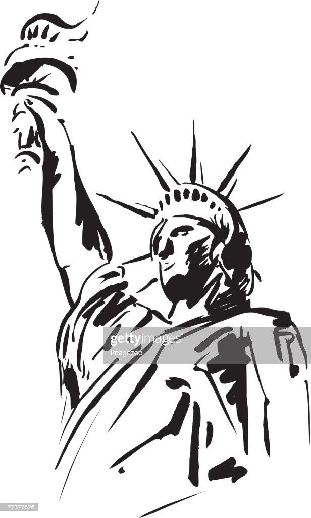 statue of liberty b&w : Illustration