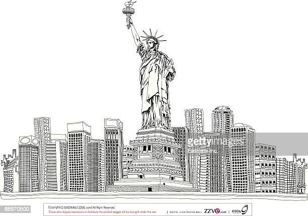 statue of liberty by skyscrapers - liberty island stock illustrations, clip art, cartoons, & icons