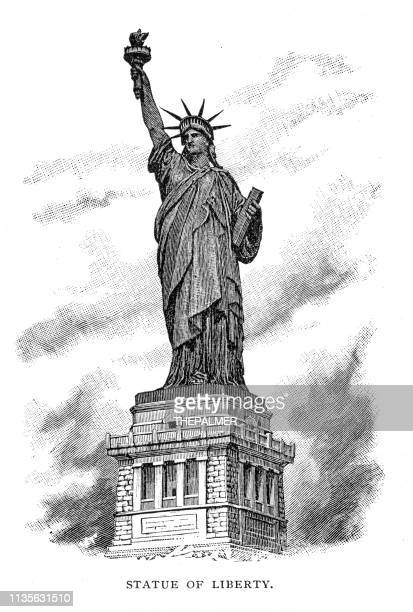 statue of liberty engraving 1895 - etching stock illustrations