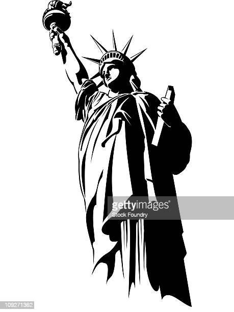 ilustraciones, imágenes clip art, dibujos animados e iconos de stock de statue of liberty - vista de ángulo bajo