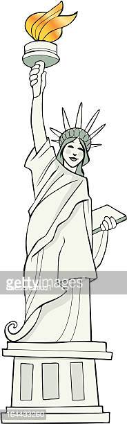 statue of liberty in new york - ellis island stock illustrations, clip art, cartoons, & icons