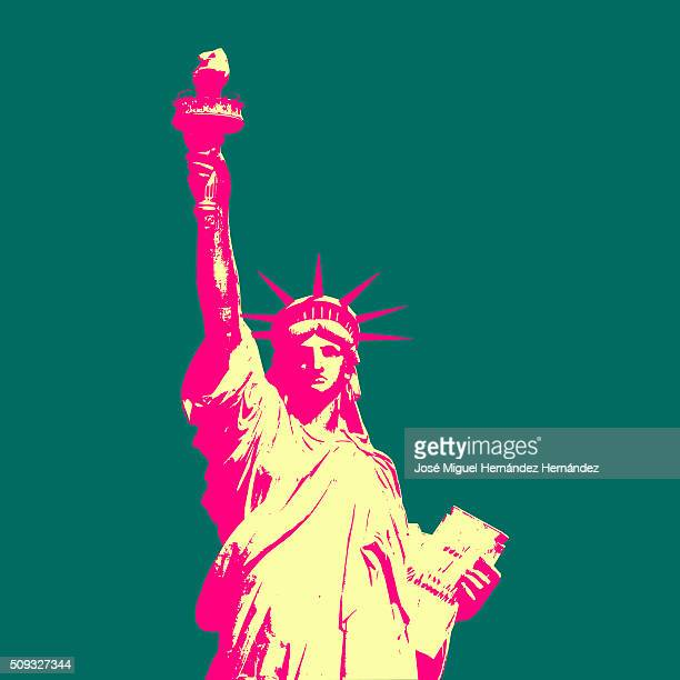statue of liberty pop art style - liberty island stock illustrations, clip art, cartoons, & icons
