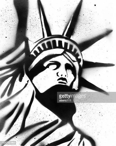 statue of liberty stencil - stencil stock illustrations